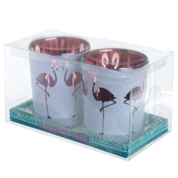 Telysholder med flamingomotiv i gaveeske