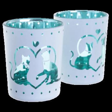 to telysholdere i hvitt og grønt metalisk design med hjerter og katter