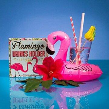 En flamingo drikkeholder med tropiske elementer
