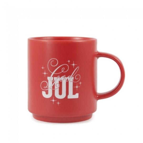Rød kopp med teksten god jul