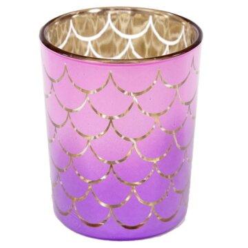 Havfrye telysholder i lilla fargepreg