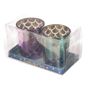 Havfrue telysholdere i pen gaveeske