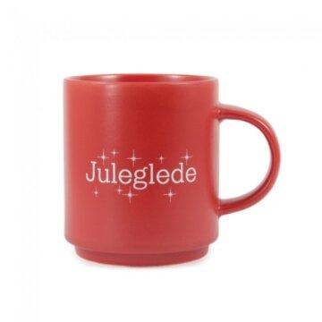 Rød kopp med teksten juleglede