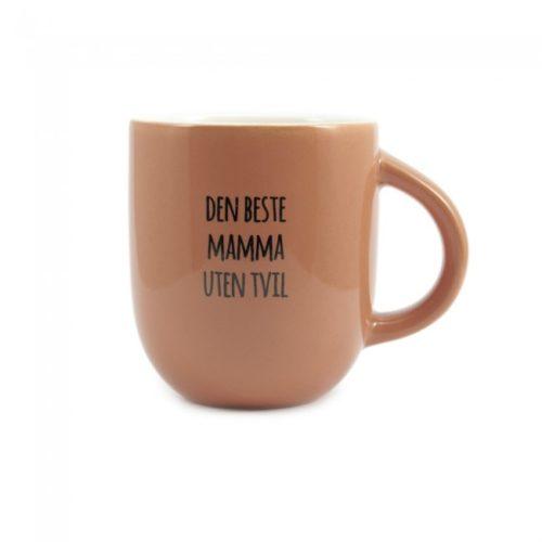 Krus med teksten Den Beste Mamma Uten Tvil