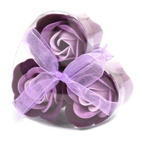 Såpeeske Lavendelroser - Hjerteformet boks med lilla såperoser og behagelig lavendel