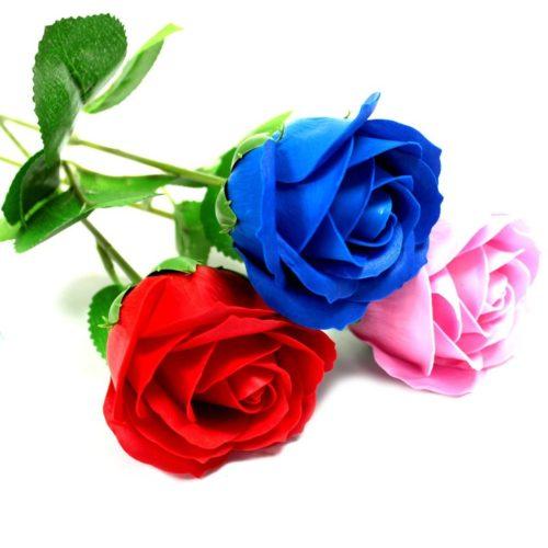 Såperoser i blå, rød og rosa