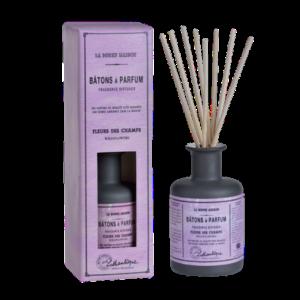 Nydelig duftolje med duftepinner, lukt av Wildflowers