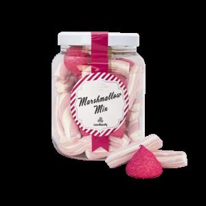 Nydelig marshmallows med smak av jordbær og vanilje i krukke