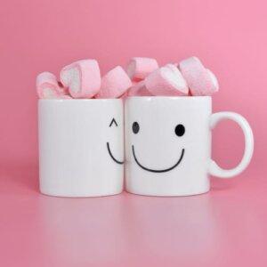 Hjerteformet Marshmallows i kopp
