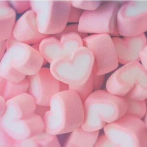 Søte Marshmallows - Hjerter i rosa og hvit