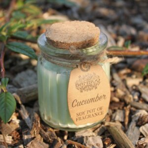 Duftlys med agurklukt til hjemmespa