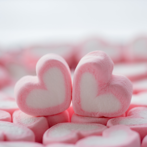 Hjerteformet marshmallows
