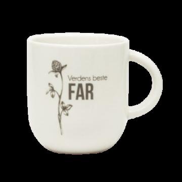 Hvit kopp med nydelig blomst og teksten Verdens Beste Far