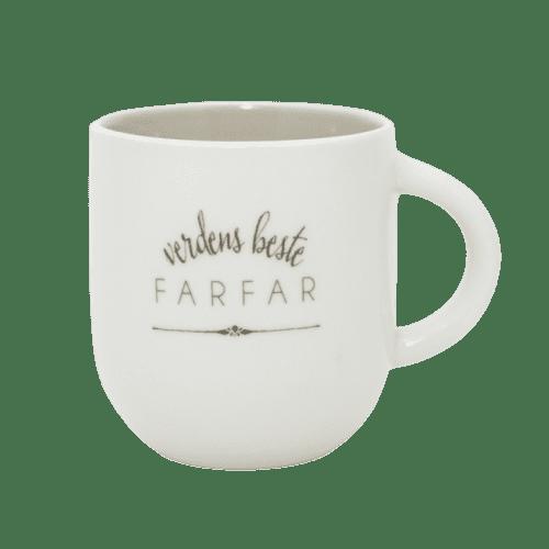 Nydelig hvit kopp med teksten verdens beste farfar