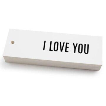 Hvitt kort med svart tekst i love you