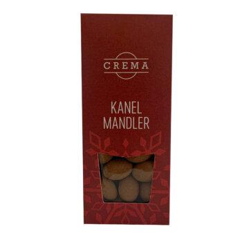 Mandler med sjokolade og kanel i rød innpakning