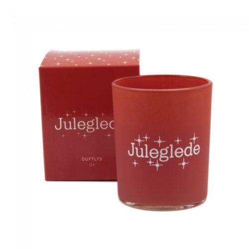 Duftlys i rødt farget glass med teksten Juleglede