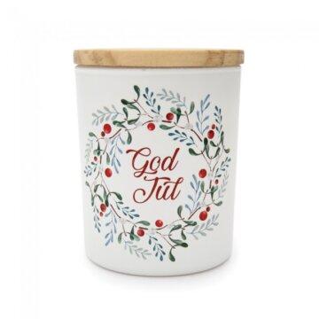 Duftlys fra Lea Interiør med teksten God Jul