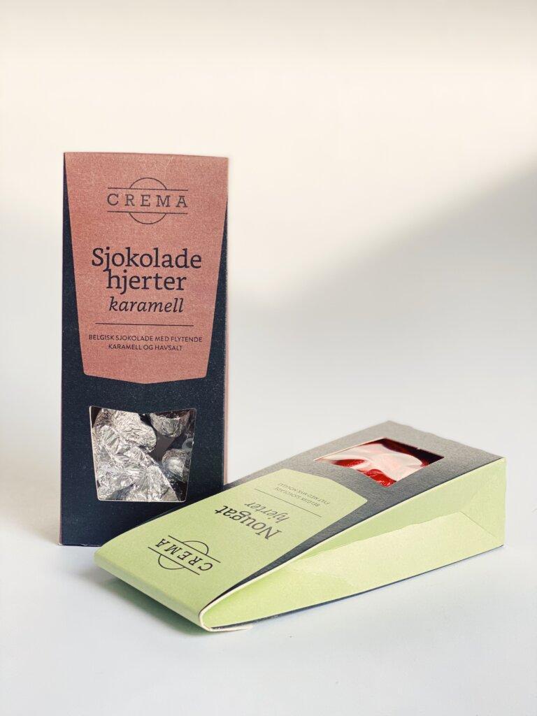 Nydelige sjokoladehjerter fra Crema med smak av karamell og havsalt