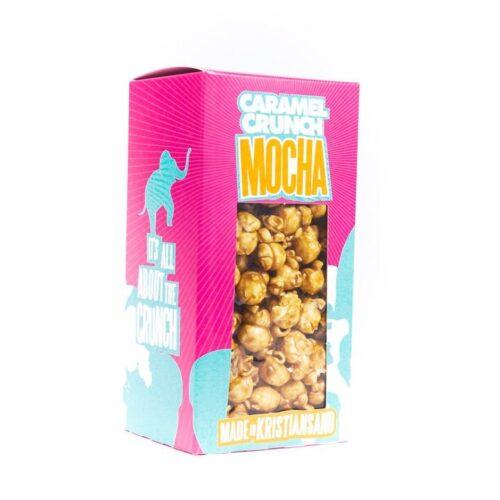 Karamelisert popcorn i fin eske fra Wæck. Denne varianten har mocha-smak.