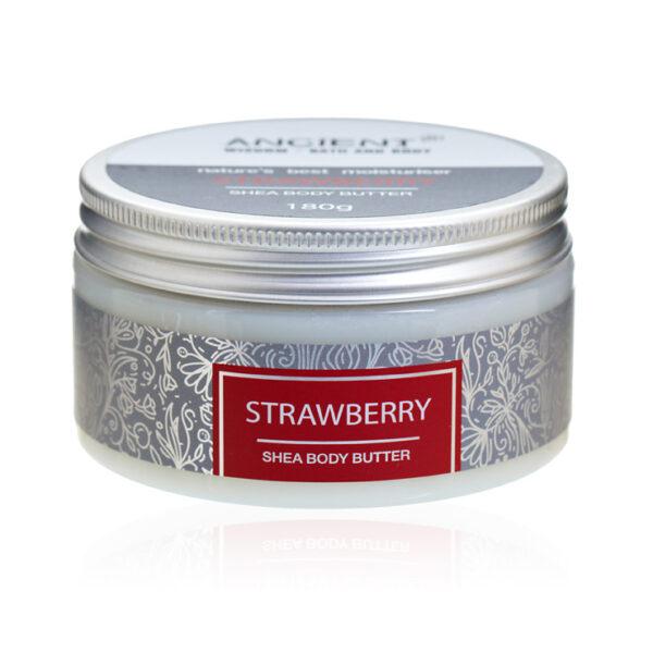 deilig shea body butter med duft av søte jordbær