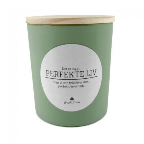 Perfekte liv duftlys fra Lea grøn fresh linen