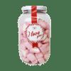 Stor krukke med hjerteformet marshmallows i rosa og hvitt preg