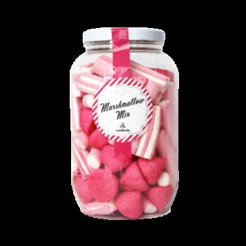 Stor krukke med Marshmallow mix, med innhold av ulike typer som søte jordbær