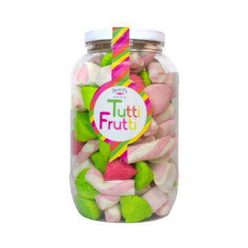 Stor krukke med Marshmallow mix, med innhold av ulike tutti-frutti smakende godteri