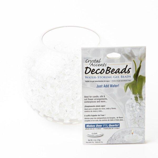 Hvite vannperler fra decobeads